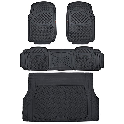 Motor Trend Odorless Black Heavy Duty SUV 4 Piece Floor Mats - Universal Fit 2 Row and Trim to Fit Trunk Cargo Liner