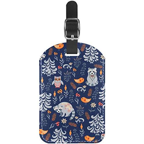 TIZORAX - Etichette per bagagli con animali della foresta, gufo e volpe, con erbe aromatiche, in pelle, confezione da 1