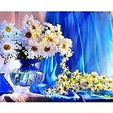 still life crisantemi per ricamo fai da te con diamantini, mosaico, pittura a mosaico, quadro a punto croce 3d