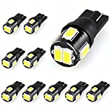 JDM ASTAR 10pcs Super Bright 194 168 175 2825 W5W 158 161 T10 5630 SMD LED Bulbs, Xenon White (Only used for interior light)