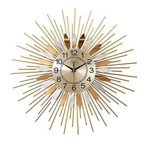 GZQDX Reloj de Pared de Metal silencioso Redondo Vintage Diseño Moderno Reloj de Pared para Sala de Estar Mural de Cocina Decoración Industrial