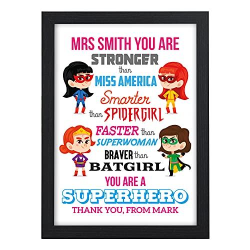 Personalised Teacher Thank You Gifts, Female Super Hero TA, Nursery, Pre...