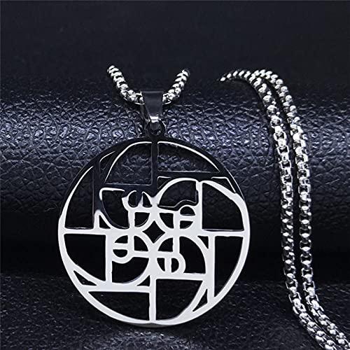 YUANBOO Fibonacci Espiral Collar de Acero Inoxidable Relación Medieval Número Número Integer Secuencia Matemáticas Medal Matemáticas Joyería y Accesorios (Metal Color : 50cm Box SR)