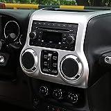 LAUTO ABS Interruptor de Aire Acondicionado Doble Cubierta Marco de molduras Decorativo para Jeep Wrangler JK & Unlimited 2011–2017,Plata