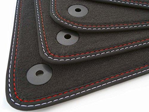 Premium Calidad felpudos RS costura doble original Velours Alfombrillas de coche de 4piezas Set