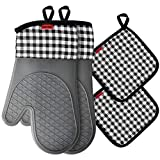 Ankway Oven Mitts and Pot Holders Sets, Kitchen Counter Safe Trivet Mats Advanced Heat Res...