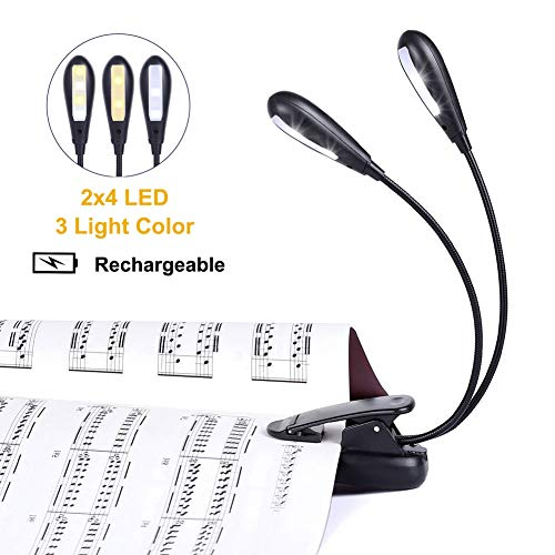 Rechargeable Music Stand Light, iGoober Clip on Reading Light, 8 LED Book Lamp, 3-Level Brightness for Eye Protection, Perfect for Piano, Orchestra, Bookworms, Craft (White & Warm, Dual Arm)