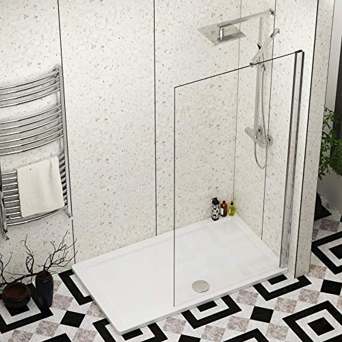 1600 x 700mm Walk in Shower Enclosure with Pearlstone Tray - 900mmWet Room Shower Screen Easy Clean Glass