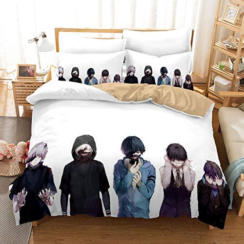HQHQH Tokyo Ghoul Series Kaneki Ken Funda de edredón de Anime Funda de edredón Suave y Transpirable Regalos (S)