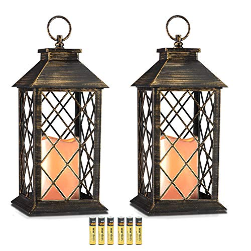 """Evermore Light 14"""" Golden Brushed Vintage Style Candle Lantern with 4 Hours Timer (Batteries Included) Hanging Lantern for Indoor&Outdoor Flameless candles Decorative-Candles-Lanterns (set of 2)"""