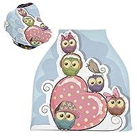 ハートフクロウ鳥ベビーカーシートカバーキャノピー伸縮性看護カバー幼児用母乳の男の子の女の子のための通気性防風冬のスカーフ