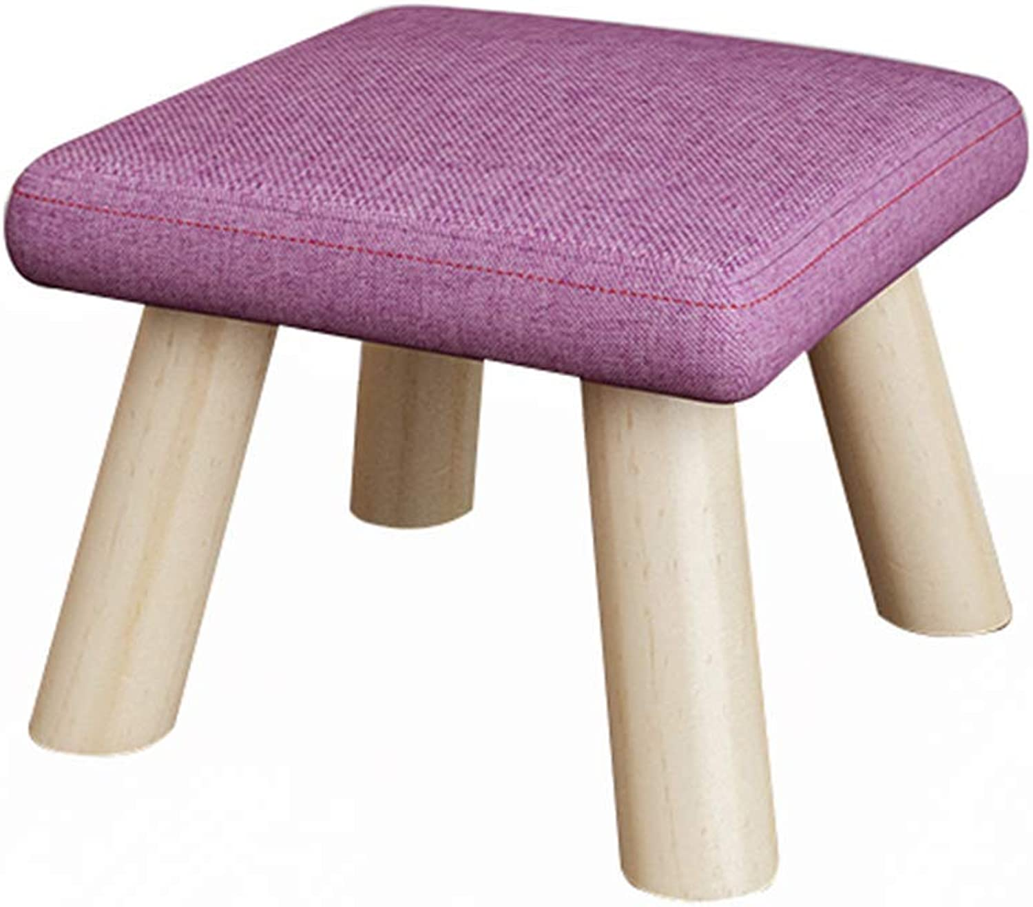GJD Stool - Sofa Stool, Home shoes Bench, Solid Wood Living Room Small Stool Fabric Bench (color   D, Size   26  26  19cm)