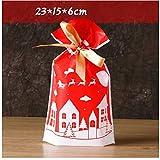 XCLWL Papiertüten Klein 10 Teile/Los Frohe Weihnachten Süßigkeiten Kunststoff Geschenk Taschen Für Cookie Keks Snack Verpackung Box Festival Event Party Supplies Rot Grün, K