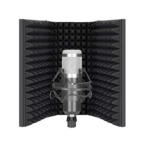 Neewer Pro Mikrofon Isolationsschild 3 Paneelen Pop Filter saugfähiger Schaumstoff belüftete Platte aus Metall kompatibel mit Blue Yeti und allen Kondensatormikrofon Aufnahmegeräten
