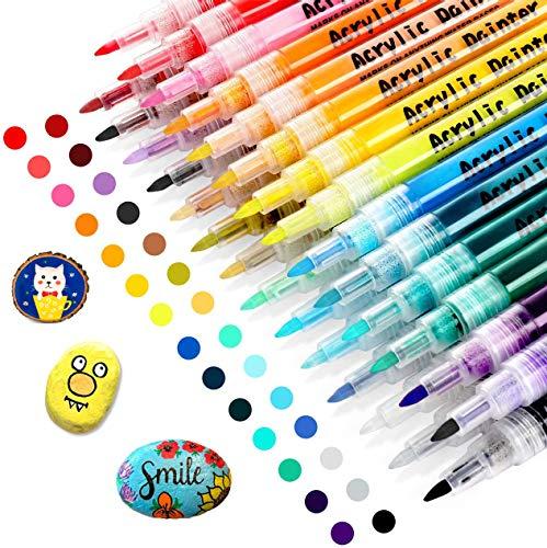 RATEL Acrylstifte Marker Stifte, 28 Farben Acrylfarben Stifte Paint Marker Set Acrylfarben Stifte Set Art Filzstift Acrylstifte für Steine, Leinwand, Papier, Glasmalerei, Metall- 0.7 mm Spitze