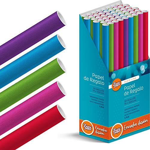 Caja-Expositor 50 Rollos de papel de regalo grandes, 70 cm x 200 cm (2 m) LISO (5 diseños). IDEAL para: Tiendas San Valentín Día Enamorados Cumpleaños Baby Shower Bodas Infantil [FP Fiesta Pap
