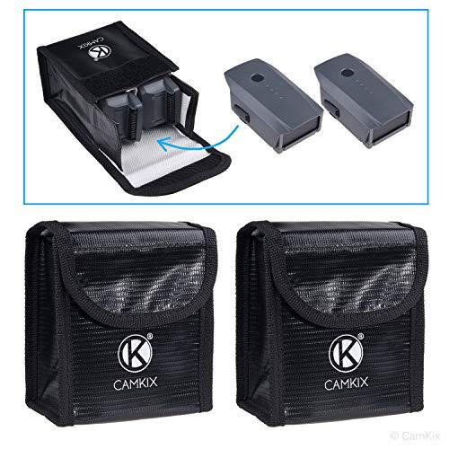 CamKix Explosionsgeschützte LiPo Akku Tasche Kompatibel mit DJI Mavic Pro/Platinum - 2-er Pack (4 Mavic Akkus) - Feuerresistente Sicherheits- und Aufbewahrungstasche - Sichere Ladung + Transport