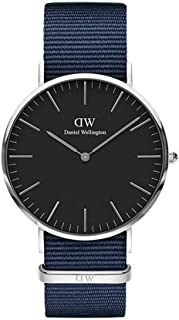 Daniel Wellington DW00100278 Fabric-Band Black-Dial Round Analog Unisex Watch - Navy