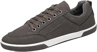 daa9777efd8621 Baskets en Cuir Homme,Hiver Chaussures Bateau Lacets Casual Mocassins Noir  Mode Overdose Running Sneakers