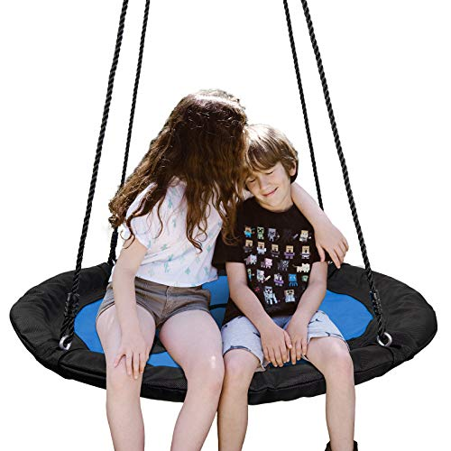 """SUPER DEAL 40"""" Waterproof Saucer Tree Swing Set, Attaches to Trees or Existing Swing Sets - 360 Rotate°, Adjustable Hanging Ropes for Kids, Adults and Teens, 700lb (Blue)"""