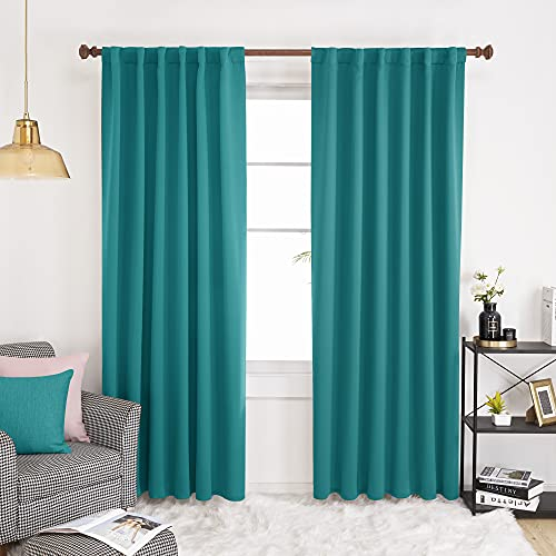 Deconovo Back Tab Blackout Curtains, Rod Pocket Room Darkening Shades - Thermal Insulated Window Drapes for Sliding Door, 52x95 Inch, Turquoise, Set of 2