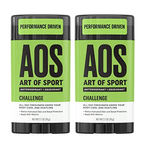 Art of Sport Men's Antiperspirant Deodorant Stick (2-Pack), Challenge Scent, Athlete-Ready Formula with Matcha, 2.7 oz