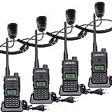 Retevis RT85 Walkie Talkie Profesional, Radio Bidireccional de Doble Banda con Micrófono de Altavoz, Walkie Talkie Recargable con Alarma de Emergencia para Seguridad, Fabricación (Negro, 4 Piezas)