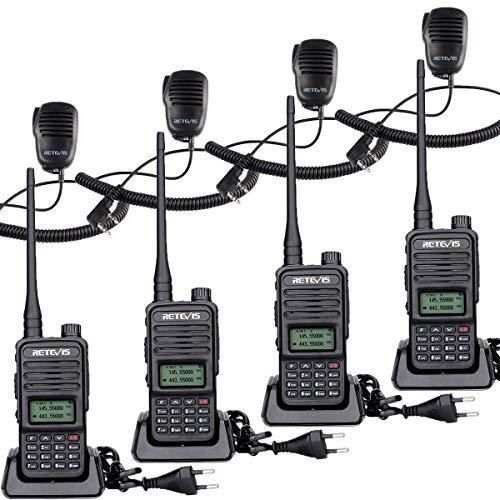 Retevis RT85 Radio de 2 Vías Doble Banda, Radioaficionado Largo Alcance, Portátil Walkie Talkie Profesional con Micrófono de Altavoz, para Seguridad, Fabricación (Negro, 4 Piezas)