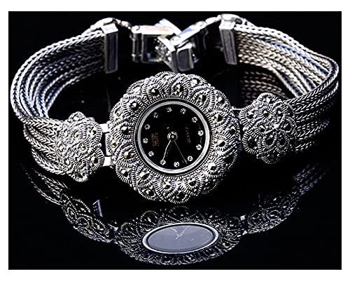 CHXISHOP Reloj de Mujer Pulsera de la Pulsera Redonda con Incrustaciones de Piedras Preciosas de Piedras Preciosas del Reloj de la Pulsera de Las Mujeres. Reloj de Brazalete black-16.5cm