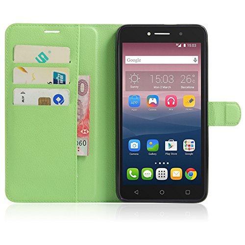 MINGYOUNG Hülle für Alcatel pixi 4 (6.0) 3G 8050D PU Leder Flip Cover Brieftasche Ledertasche Tasche Case Schutzhülle mit Magnet für Alcatel pixi 4 (6.0) 3G 8050D (Grün)