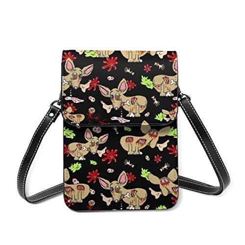Kleine Schultertasche, Zombie Chihuahua Hund auf schwarzer Umhängetasche Handy Geldbörse leichte Umhängetasche für Frauen Mädchen