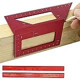 Lega di alluminio Sella Layout Square Gauge con 2 matite,Multifunzionale 45/90 gradi Angolo T Righello 3D Mitre Angolo Strumenti di misurazione per la lavorazione del legno