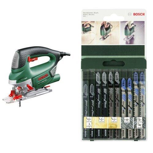 Bosch PST 1000 PEL - Sierra de calar de carrera pendular, color verde + 2 609 256 746 - Juego de hojas de sierra de calar de 10 piezas vástago en T