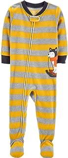 Toddler Boy's Husky Sled Dog Striped Fleece Footed Pajama Sleeper
