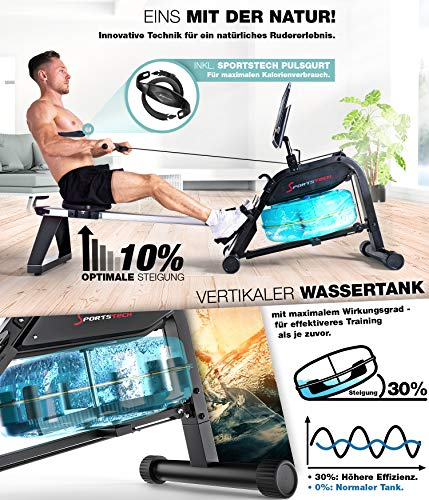 Sportstech WRX 400 Premium Wasser Rudergerät Wassertank