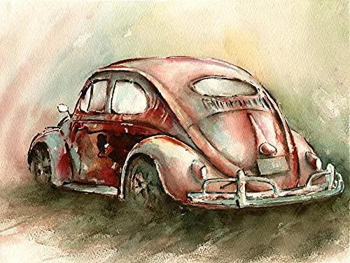 Pintura colorida del coche pinturas al óleo acrílicas por números pintado a mano DIY digital lienzo pintado regalo decoración de la pared del hogar A8 50x70cm