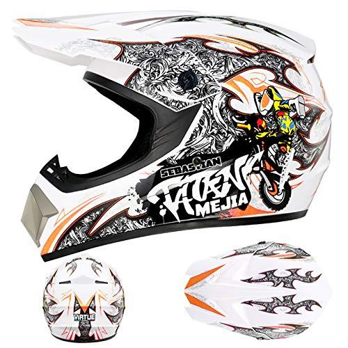 YQY Moda Casco de Moto de Cara Completa con Guantes, Escudo Facial, Gafas,Naranja,S