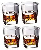 GXYtable cloth Set di Vetro di Whisky di 4, Bicchieri borbonici per Cocktail Vecchio Stile, Occhiali Scozzesi, decantatore Perfetto per Bicchieri di Vetro
