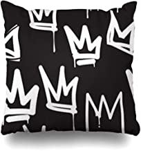 Throw Pillow Case Queen Crown Tags Black White Graffiti Hand Drawing in Letter Hip Hop Street for Skateboard Abstract Decor Home Pillow Cover Square Size 18 x 18 Inches Pillowcase