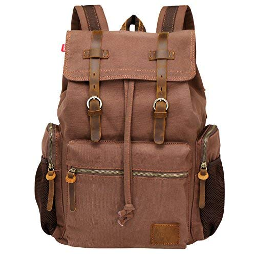 Wowbox Canvas Backpack Vintage Leather 15.6 Inch Laptop School Backpack Travel Rucksack Black