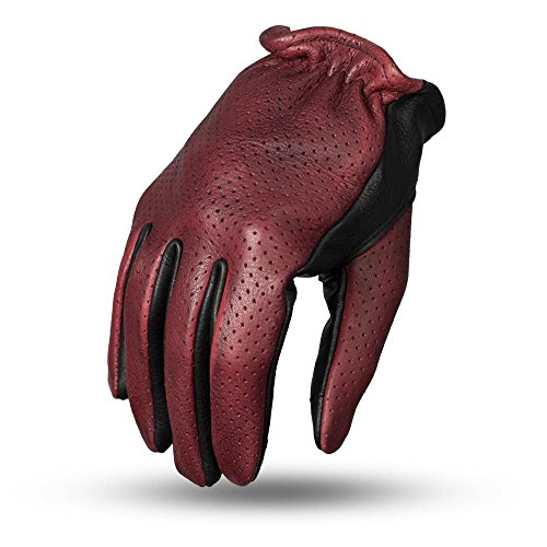 First Mfg Co Men's Perforated Roper Leather Motorcycle Touch Tech Finger Gloves (Oxblood/Black, Medium)