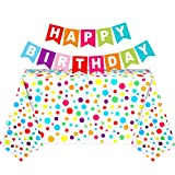 2 Pieces Polka Dot Plastic Tablecloth 51 x 71 Inch Rainbow Birthday Plastic Table Cover for Rectangle Table with Colorful Happy Birthday Banner for Baby Shower Party Birthday Engagement Wedding