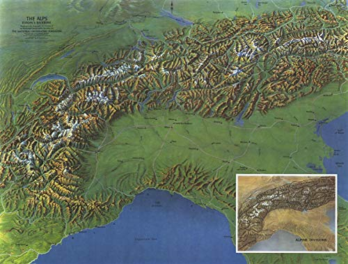 National Geographic: The Alps, Europes Backbone 1965 – Historical Wall Map Series – 24.75 x 18.75 pulgadas – Papel enrollado