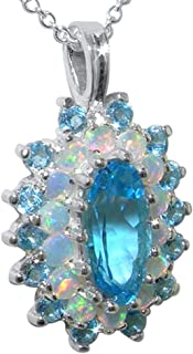 Ladies Solid 925 Sterling Silver 12x6mm Natural Blue Topaz & Opal 3 Tier Large Cluster Pendant Necklace