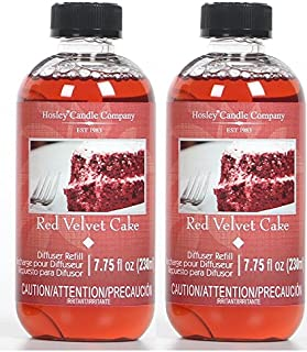 Hosley Aromatherapy Set of 2 Premium Red Velvet Cake Scent Reed Diffuser Refills Oil 230 Milliliter 7.75 Fluid Ounce. Ideal Gift for Wedding Party Spa Aromatherapy O4