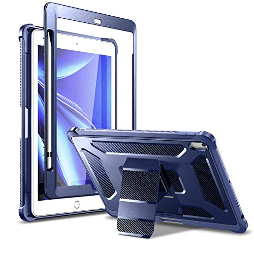 Dexnor Stand Case for iPad 10.2 8th Gen 2020/7th Gen 2019, [Built in Screen Protector] [Pencil Holder] [Hidden Kickstand] Full Body Protective Tablet Cover for iPad 8th/7th Generation 10.2' Blue