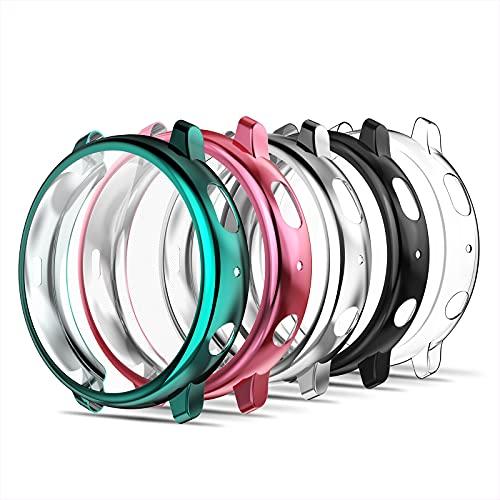 Simpeak 5-Stück Hülle Kompatibel für Samsung Galaxy Watch Active 2 40mm [5 Pcs], Schutzhülle Leicht Weiche Silikon Superdünne TPU Hülle - Transparent+Schwarz+Rose+Silber+Pfauenblau