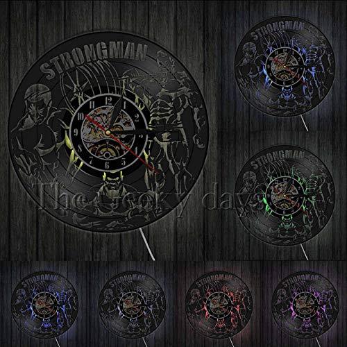 KDBWYC Reloj de Pared de Vinilo de Levantamiento de Pesas, Reloj de Pared para Sala de Fitness, decoración para Colgar en la Pared, Reloj de Pared silencioso para Gimnasio, Regalo para Hombre Fuerte
