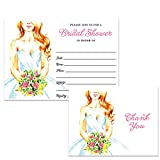 Bridal Shower Invitations & Thank You Cards with Envelopes (100 of Each) Pretty Bride Matching Set Fill-in Invites & Folded Thank You Notes Wedding Party Gift Thanks Great Value Combination Pair