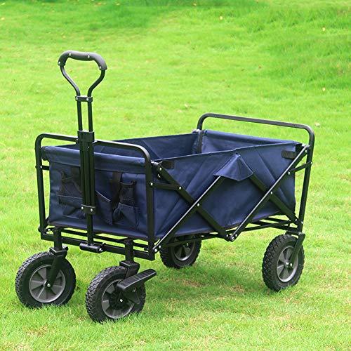 XYYZX Bollerwagen faltbar mit Reifen für Vatertag, einkaufen, klappbar, Transportwagen ohne Dach mit Abdeckhaube, verstärkter Achse und Gestell - Tragkraft: 80KG,Marine